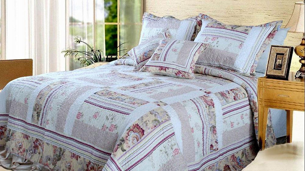 Classic Floral Blossoming Reversible Real Quilted Bedspread Set Twin Size