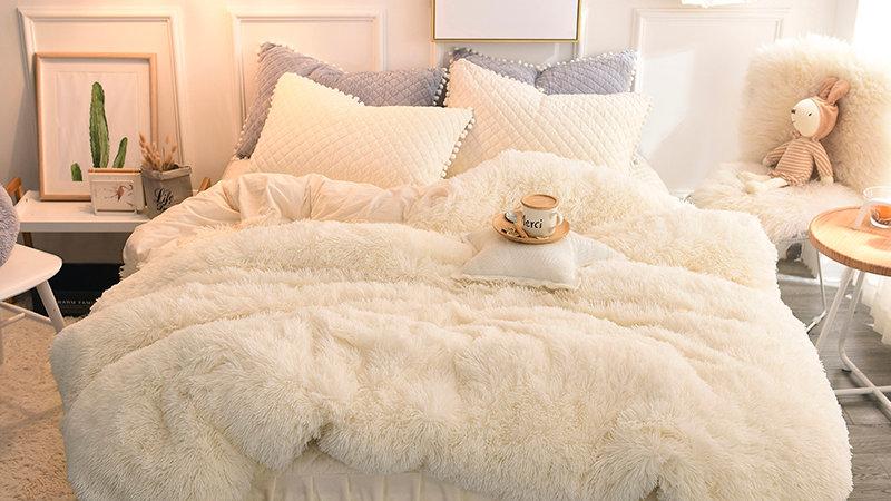 4/6pcs Luxury Plush Shaggy Set Quilted Pompoms Fringe Ruffles Bedskirt