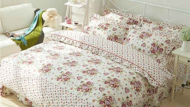 4Pcs Quilted Pink Rose Floral Set