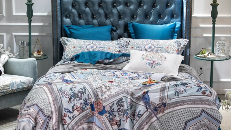 Luxury Egyptian Cotton Blue Bohemia Bedding Set