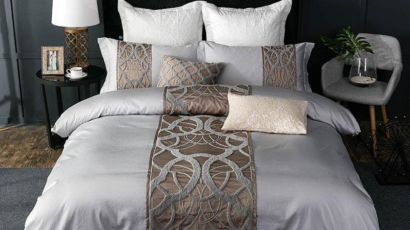 4/7Pcs Silver Grey Luxury Egyptian  Bedding Set