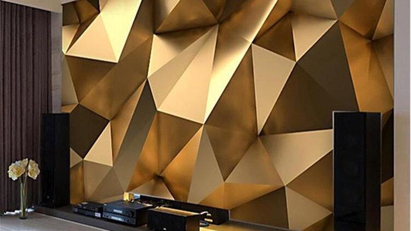 3D Custom Gold Minimalist Geometric Mural