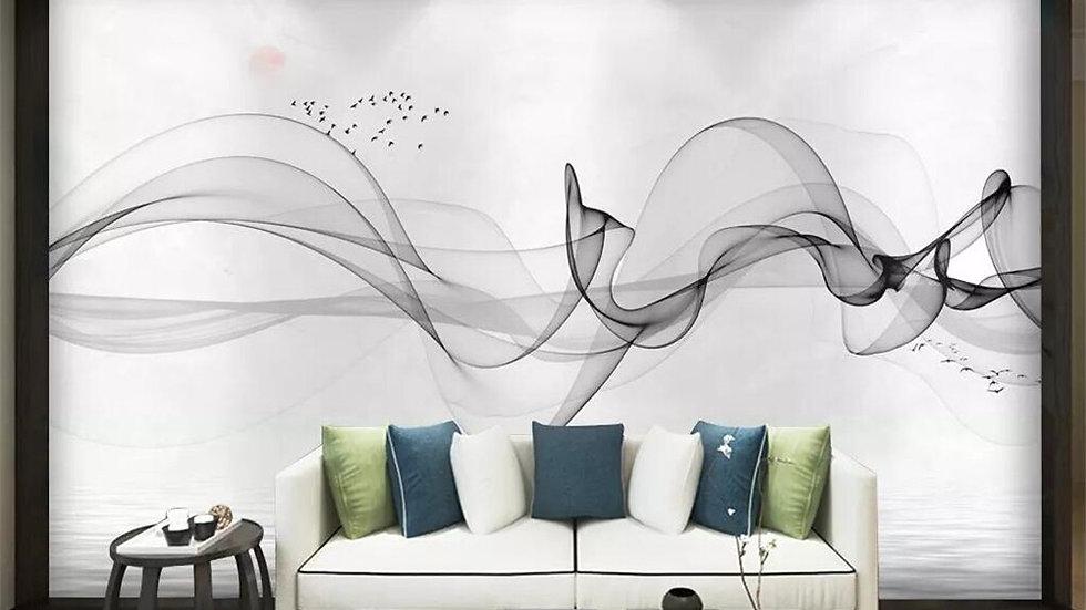 Abstract Ink Landscape Smoke Zen Mural 3D Wallpaper
