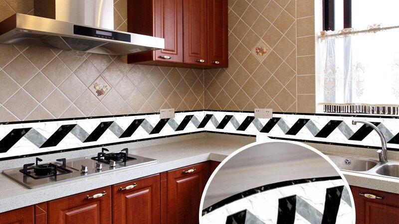 Black White Stripe Baseboard Waist Line Wall Stickers Self Adhesive Wallpaper