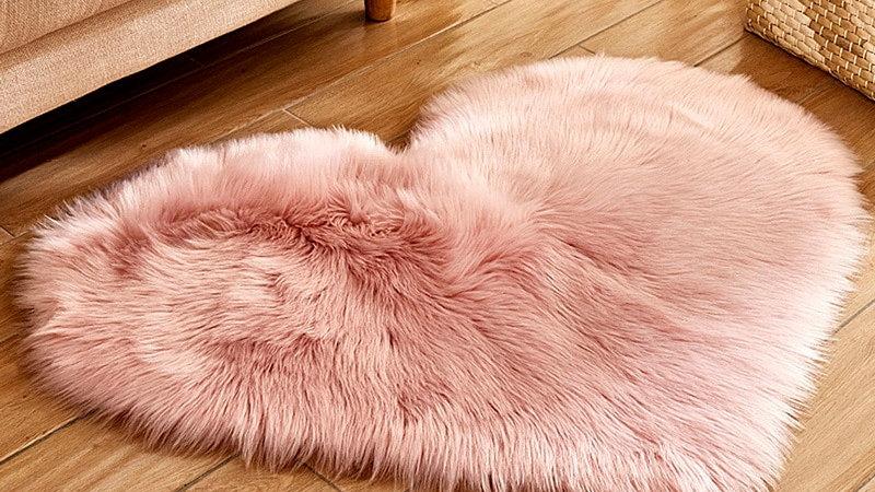 Carpet Bedroom Floor Mat Love Heart Rugs  Hairy Faux Fur Fluffy