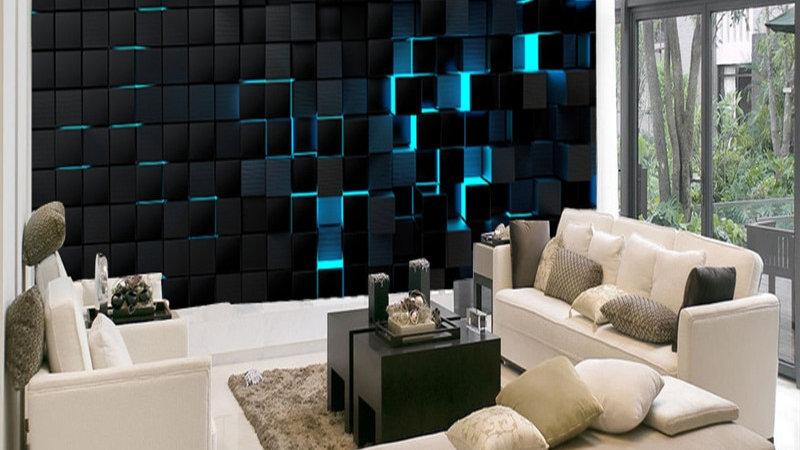 Modern Technology Mural Wallpapers Wall Paper 3D Blue Light Shining Black Cubes