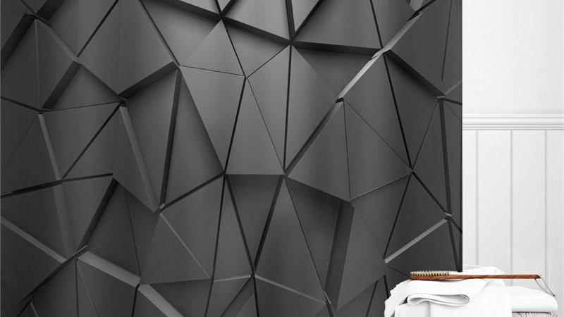 Black Geometric Fabric Waterproof Bath Curtain