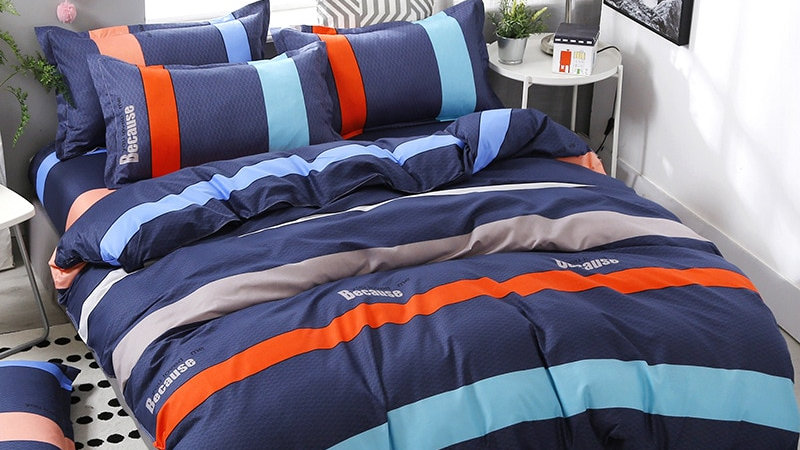 3/4Pcs/Set Stripe Blue Comforter Bedding Set