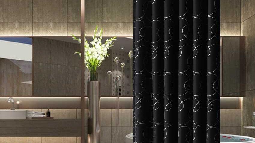 Modern Geometric Flowers Cartoon Bath Curtain Cortina