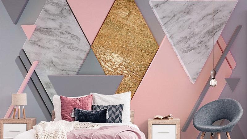 3D Modern Pink Diamond Geometry Photo Murals Wallpaper