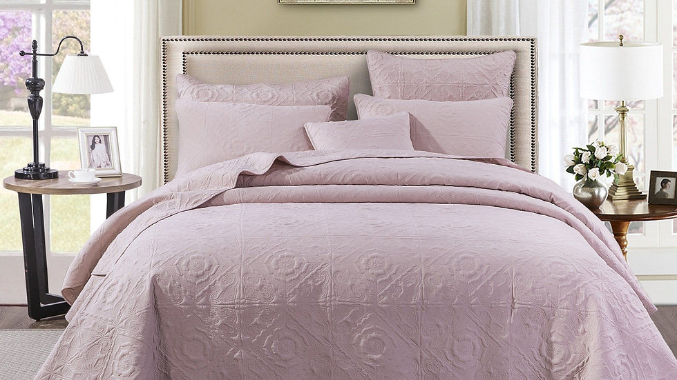 Floral Country Tea Rose Pink Quilted Bedspread Set