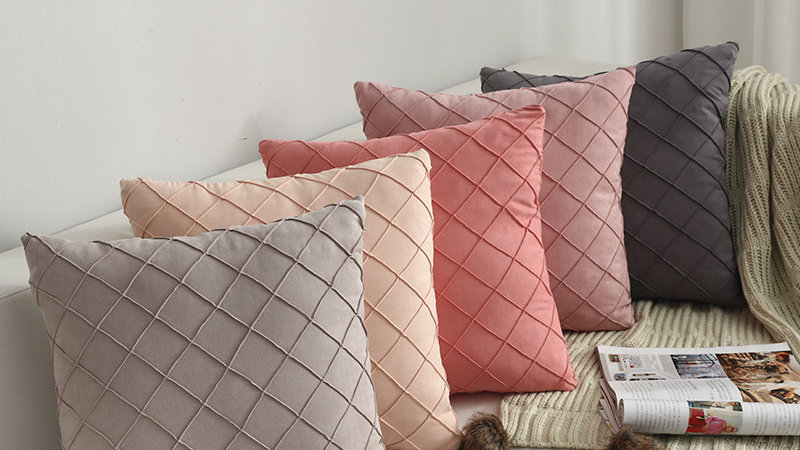 Simple Nordic Plaid Pillow Cover Suede Check Luxury Cushion Cover