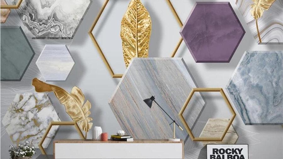 Nordic Minimalist Stone Geometry Gold Leaf Mural 3D Wallpaper
