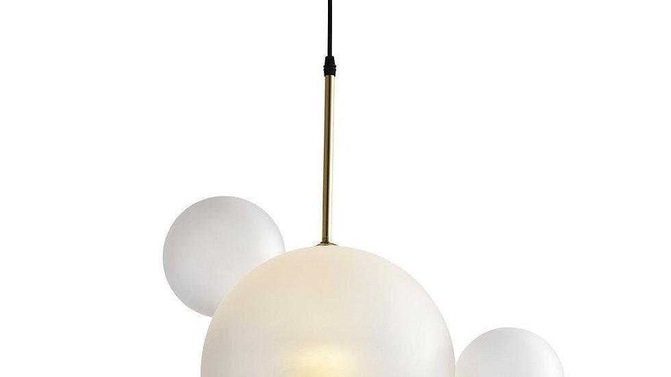 Salome Pendant Lamp - 1 Big & 3 Small Cream/White Glass Shades