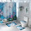 Thumbnail: 4 in 1 Waterproof 3D Shower Curtain Sets With Non Slip Toilet Cover Rug