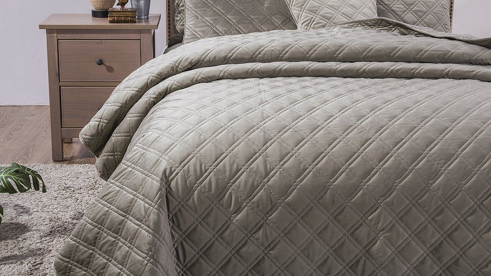 Double Sided Quilted Coverlet Bedspread Set, Taupe Grey