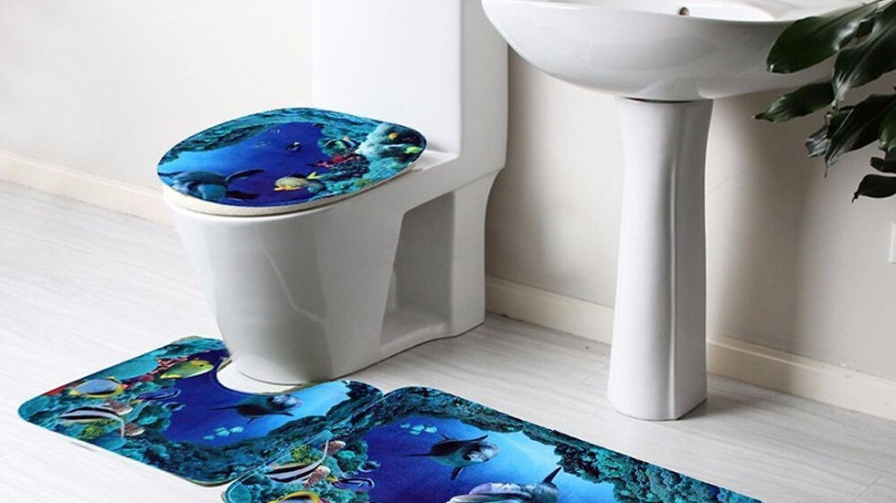 3Pcs/Set Bathroom Non-Slip Carpet Blue Ocean Pattern