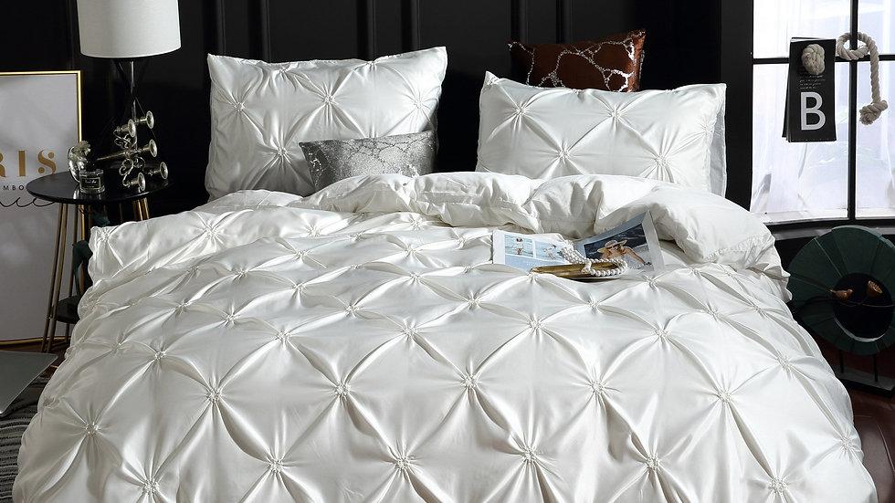 2/3pcs European Style Satin Silk Bedding Set Luxury Pinch Pleat