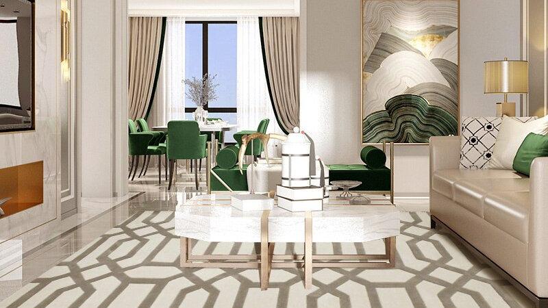 Acrylic Comfortable Striped Style Non-slip  Soft Carpet