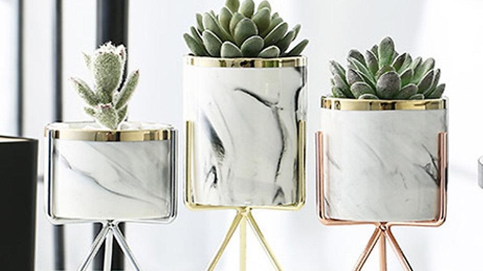 Nordic Ceramic Iron Art Vase Marble Pattern Rose Gold Silver Tabletop  Vases