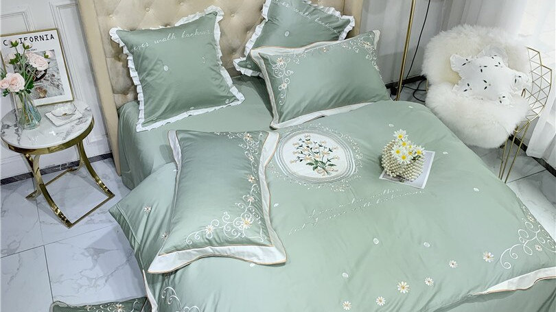 Premium Chic  Embroidery  Silky Soft Egyptian Bedding Set