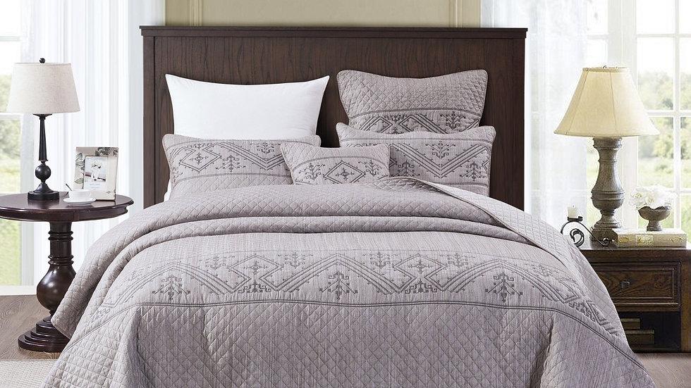 Elegant Fair Isle Purple Grey Yarn Dyed Quilted Coverlet Bedspread Set