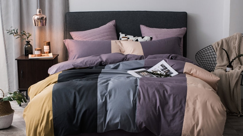 Coffee Grey Purple Patchwork Bedding Set