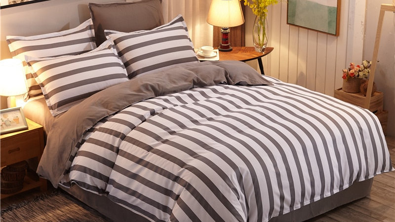 Classic Grey Stripe Bed Linens Multi- Sets 4PC