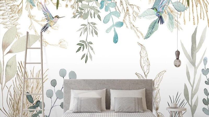 Wallpaper Modern Hand-Painted Tropical Plant Leaves
