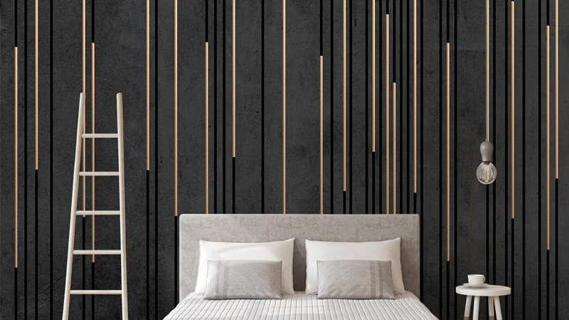 Custom 3D Wallpaper Black Marble Stripe Mural