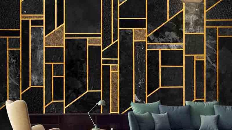 Custom 3D Luxury Black Abstract Geometric Mural