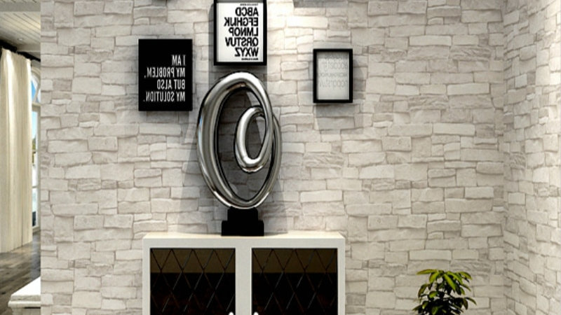 Cream White Vintage Stone Brick Wallpaper