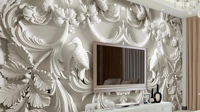 European Style 3D Relief Flower Murals Wallpaper