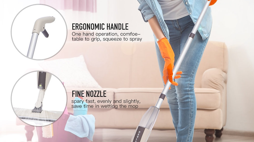 Spray Floor Mop With Reusable Microfiber Pads 360 Degree Handle Mop for Home