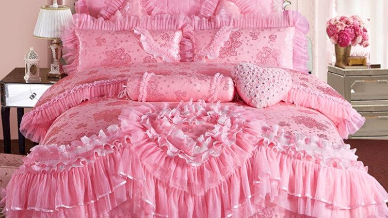 Pink Lace Luxury Bedding Set Silk Cotton Stain