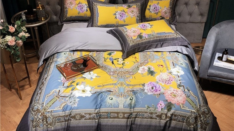 4Pcs Egyptian Luxury Vintage Floral Birds Print Set