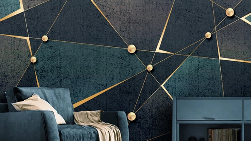 Custom 3D Photo Wallpaper Creative Golden Abstract Geometric Lines Mural