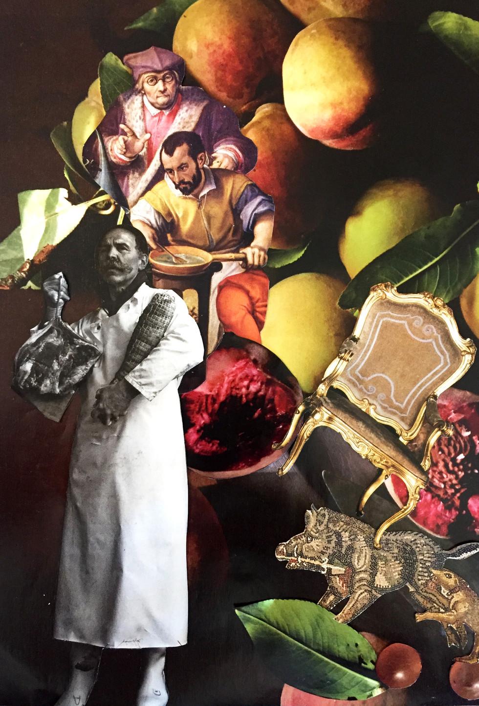 El cocinero, collage análogo 21 x 29 cm - Florencia Reid