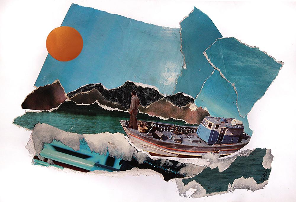 Barco en el mar - Pau collage