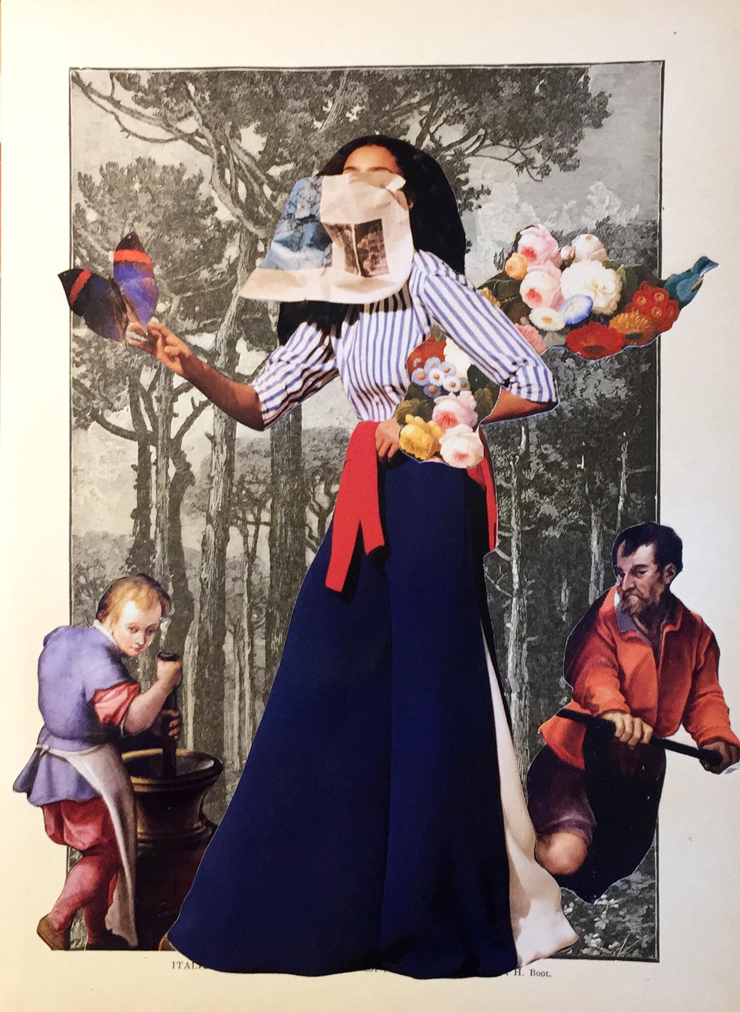 Lleva flores señorita, collage análogo 21 x 29 cms - Florencia Reid