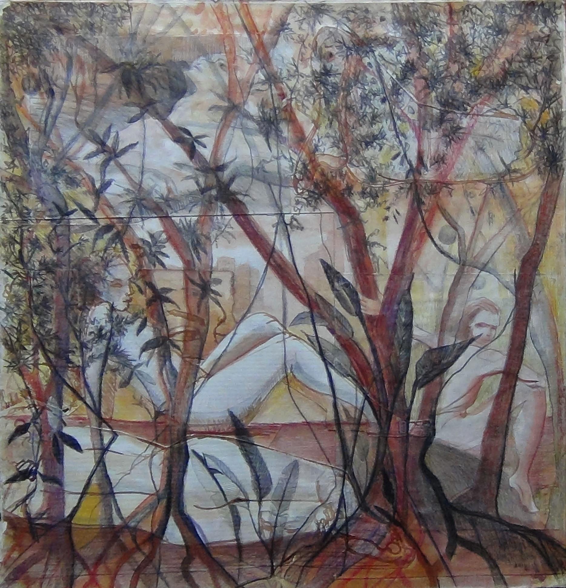 Mi Collage: El desmudo en mis collages surge del estudio del dibujo con modelos en vivo, integrando la figura con el entorno de naturaleza y lo urbano. El ser humano entre dos mundos, el natural que vibra en el interior de cada uno y el de lo urbano, del día a día que se mezcla con las miradas de miles de seres que se cruzan en la.metropolis conservando en sus miradas las raices, troncos, hojas. La dualidad del ser humano entre el ser natural y el ser prefabricado. Rodeado de selvas o rodeado de concreto. El arte del collage es para mi sacar vida de aquellos trazos que no quedaron óptimos por sí solos y al romperlos, intervenirlos, mezclarlos con otros aplicando color u otros materiales se transforman en una nueva vida, se convierten en una obra que va mas allá.