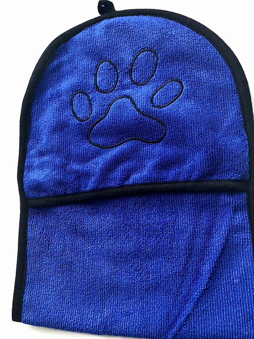 Blue drying mittens