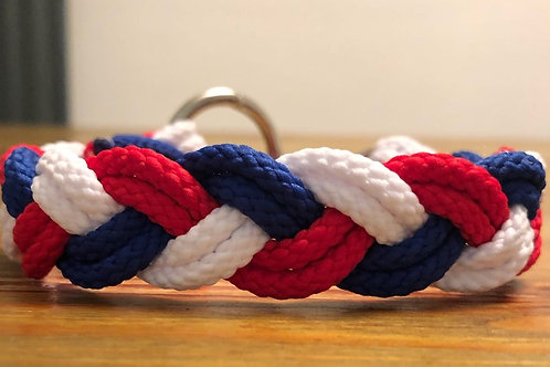 Red, white and blue collar