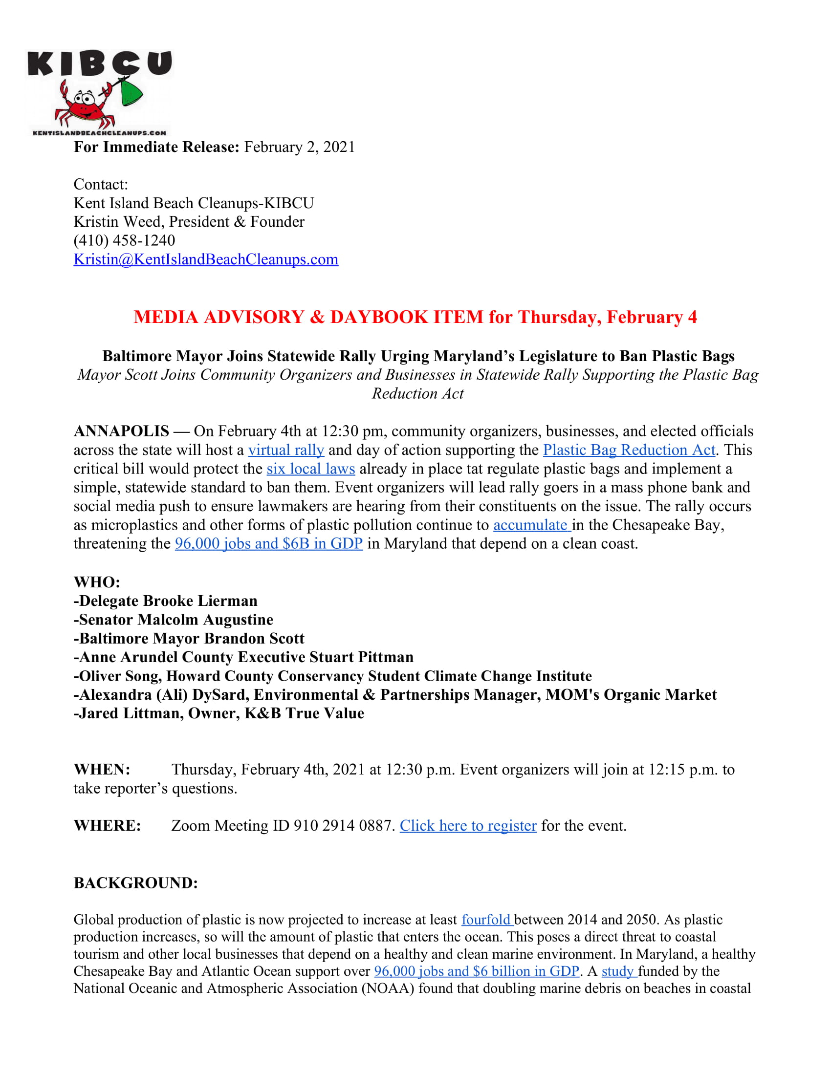 Bag Ban Rally Media Advisory - 2.2.21