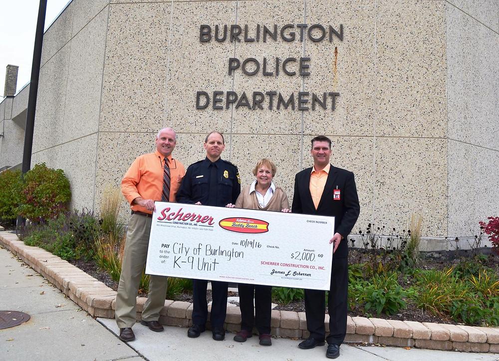 Scherrer Cares Donates $2,000 to City of Burlington K- Unit