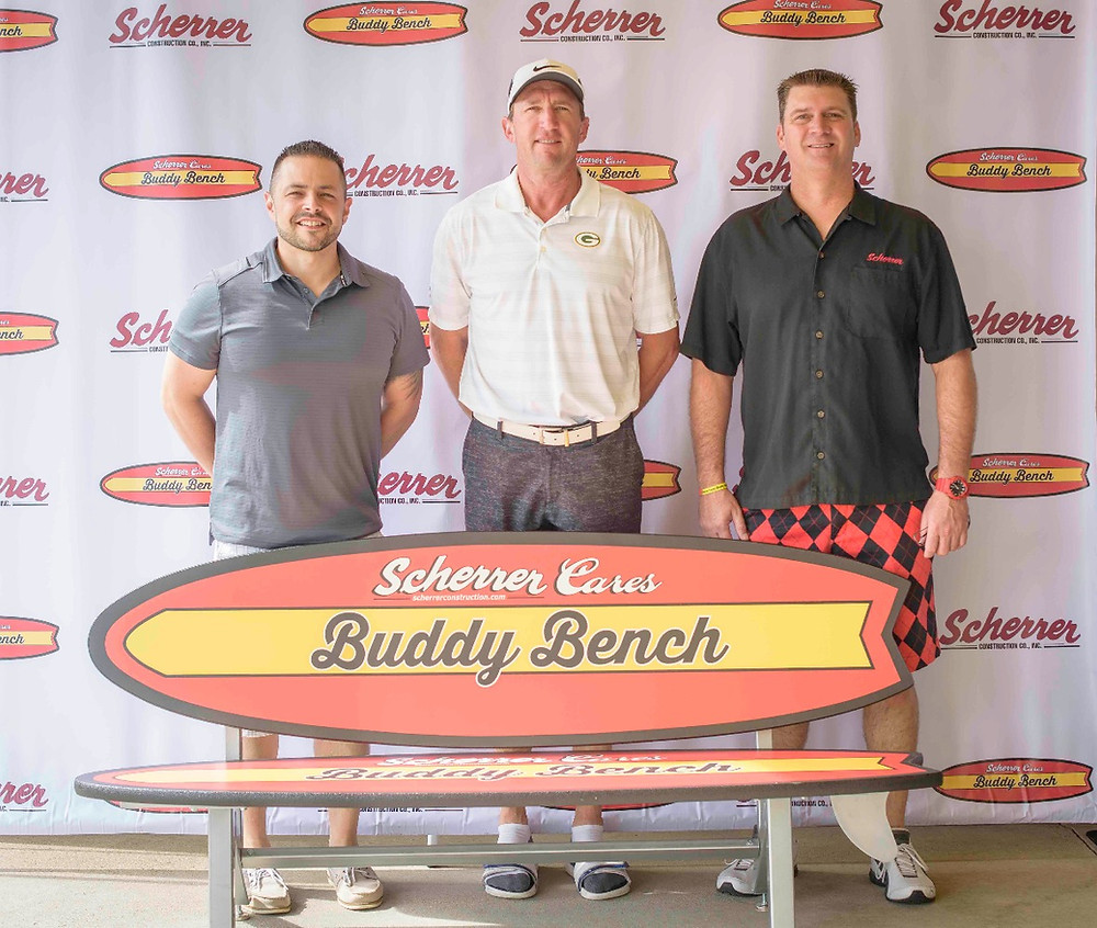 From left to right: Mike Reisel (Scherrer Cares Buddy Bench Board Member), Bill Schroeder (Former Green Bay Packer), and Jim Scherrer (Scherrer President & CEO)