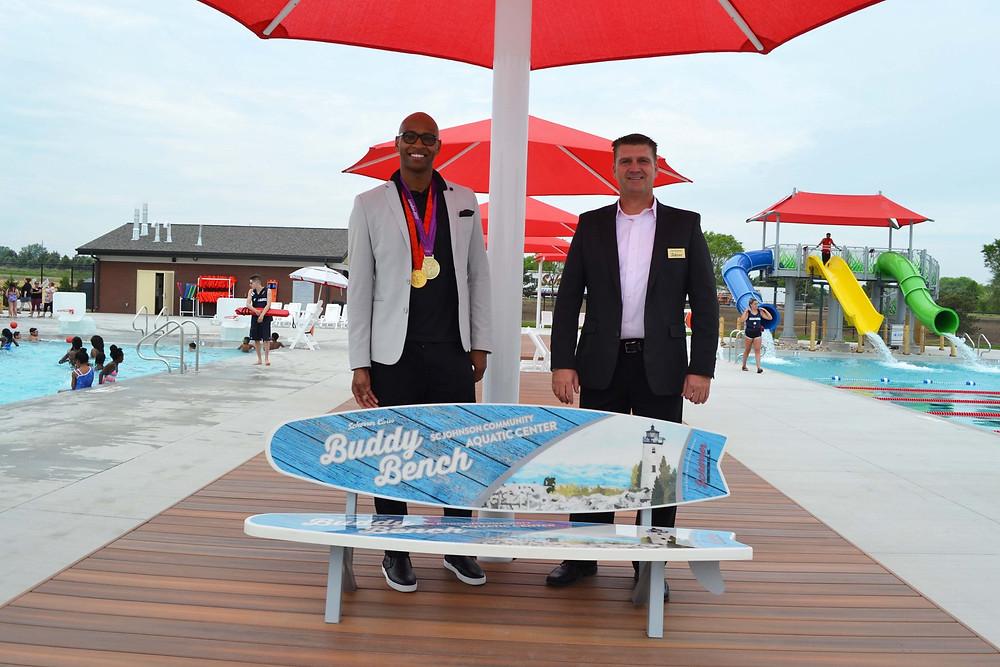 Olympic Gold Medalist Cullen Jones with Jim Scherrer (Scherrer Construction President/CEO)