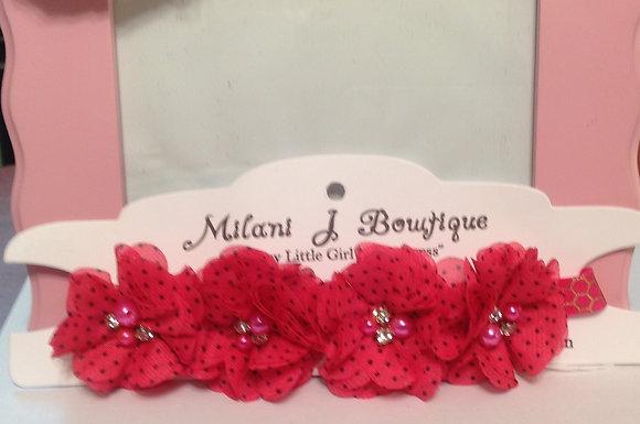 Fuschia Polka Dot Flower Crown