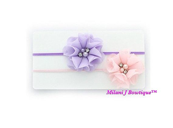 Light Pink and Lavender Chiffon Headband Set