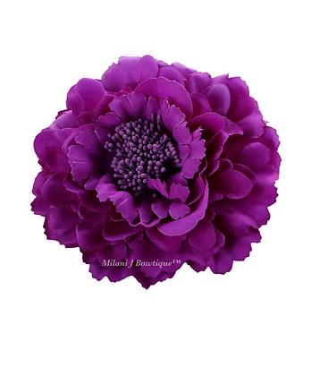 "4"" Deep Purple Peony Hair Flower"